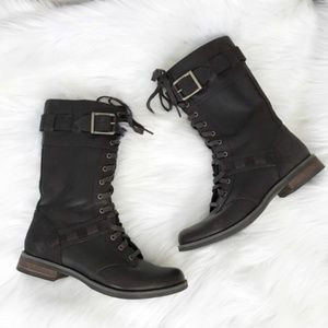 {Timberland} Brown Leather Laced Moto/Combat Boots